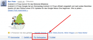 Google Buzz Reshare Funktion