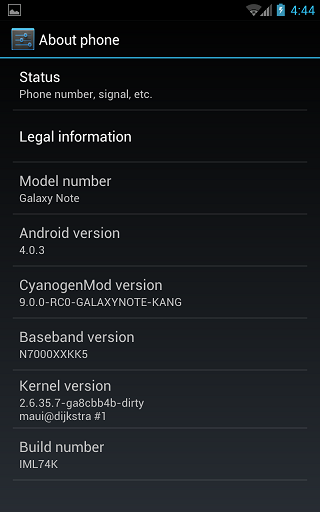ICS Galaxy Note Screenshot 2