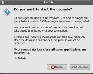Upgrade Startübersicht