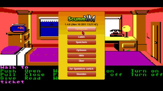 ScummVM Android - Spielmenü