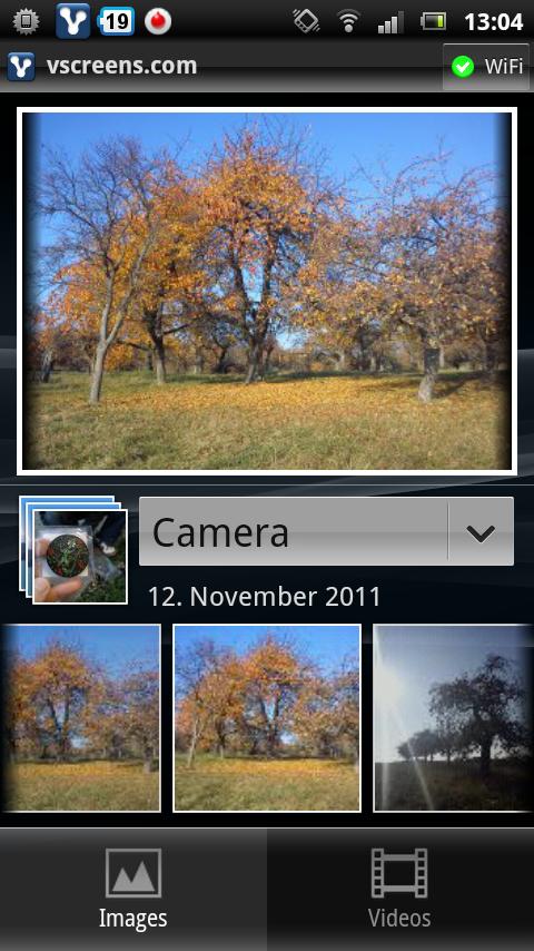vscreens.com App auf Android - Auswahl der Medien
