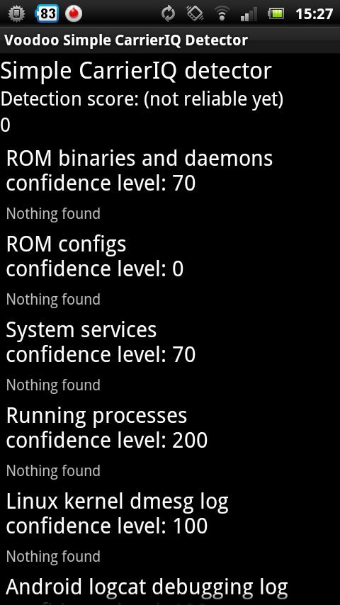 Voodoo Carrier IQ Detection(Screenshot)