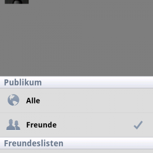 Facebook Android 1.7.0 Privatsphäre