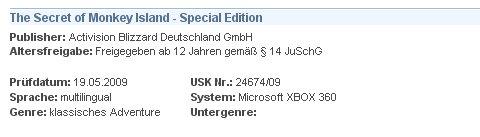 Monkey Island XBox Live USK Screenshot (Quelle: Gamerbytes)