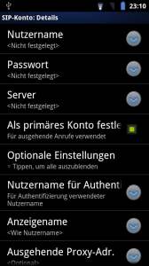 SIP/VoIP Konfiguration unter Android Gingerbread 2.3