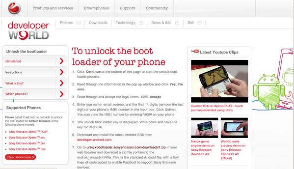 Sony Ericsson Bootloader Unlock Seite