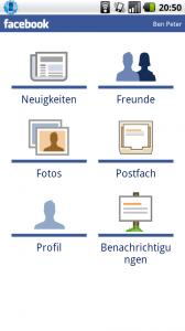 Android Facebook App mit Postfach Update