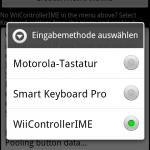 Wiimote Controller Auswahl Eingabemethode