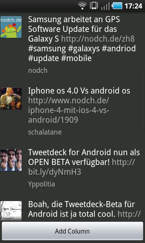 Howto: Spalten in Tweetdeck für Android anlegen und verwalten
