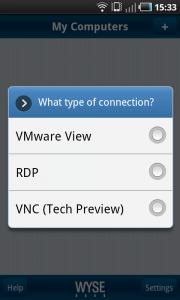 Wyse Pocket Cloud Android Verbindungsarten