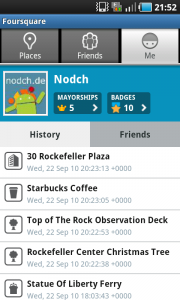 Foursquare auf Android