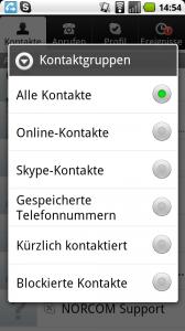 Skype für Android Gruppensortierung