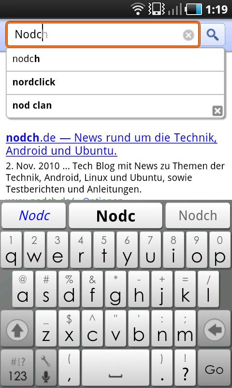 Google Instant für Android
