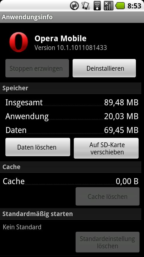 Opera Mobile 10.1 beta für Android: Speicherhunger