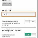 Synthesis SyncML Einstellungen Kontaktmenü