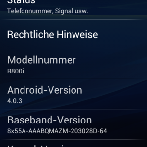 Xperia PLAY ICS Systeminfo Screenshot