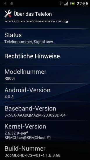 Xperia PLAY ICS Systeminfo Screenshot