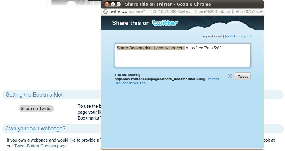 Twitter Share Bookmarklet