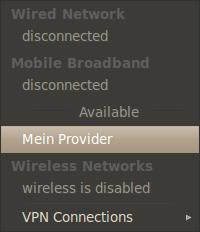 Eingerichtete Verbindung im Network Manager