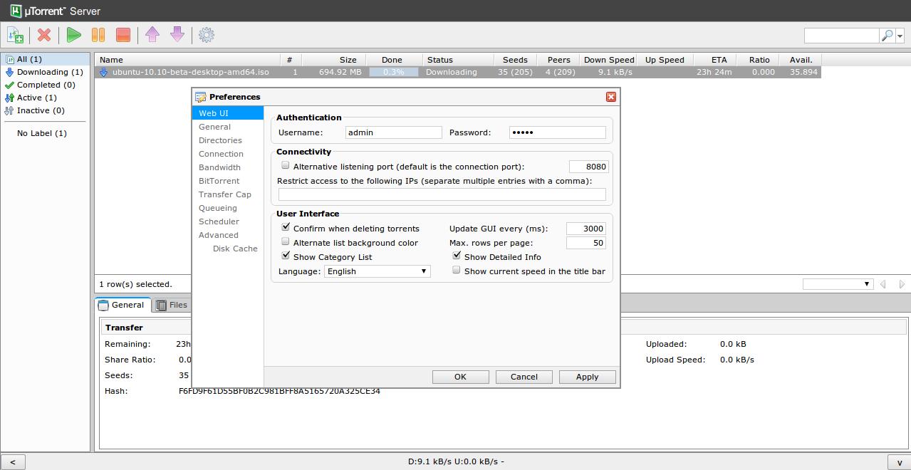 µTorrent Server Linux Web UI