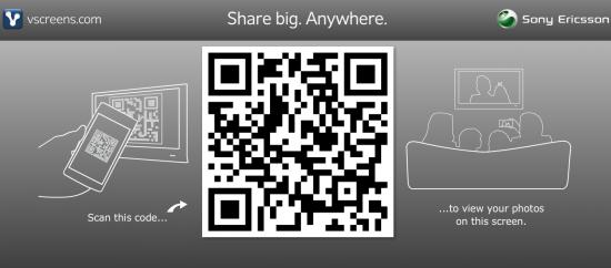 vscreens.com QR-Code Anzeige (Screenshot der Webseite)