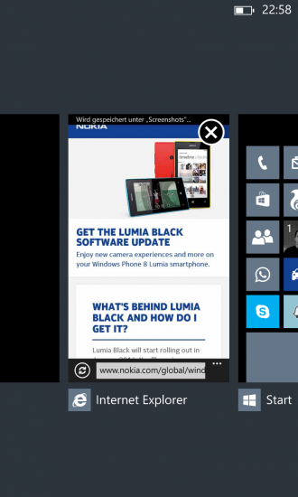 Nokia Black Update Apps schliessen